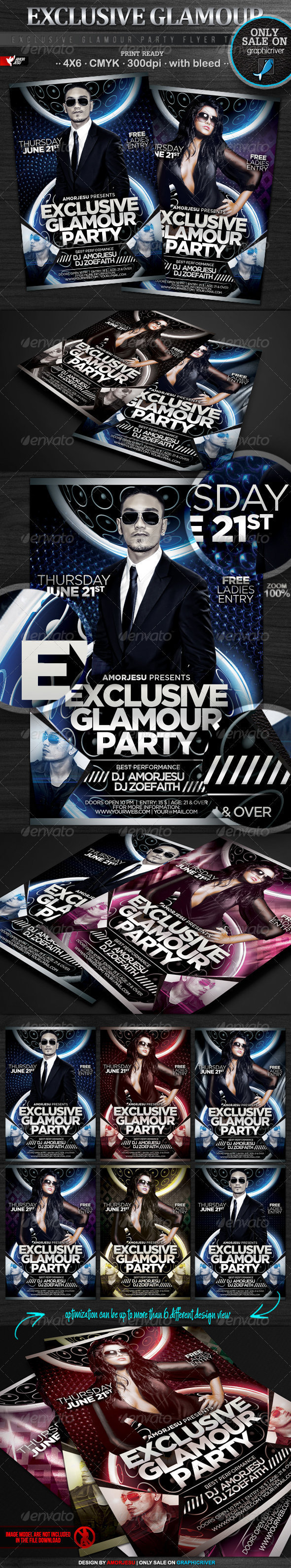 Exclusive Glamour Party Flyer Template - Clubs & Parties Events