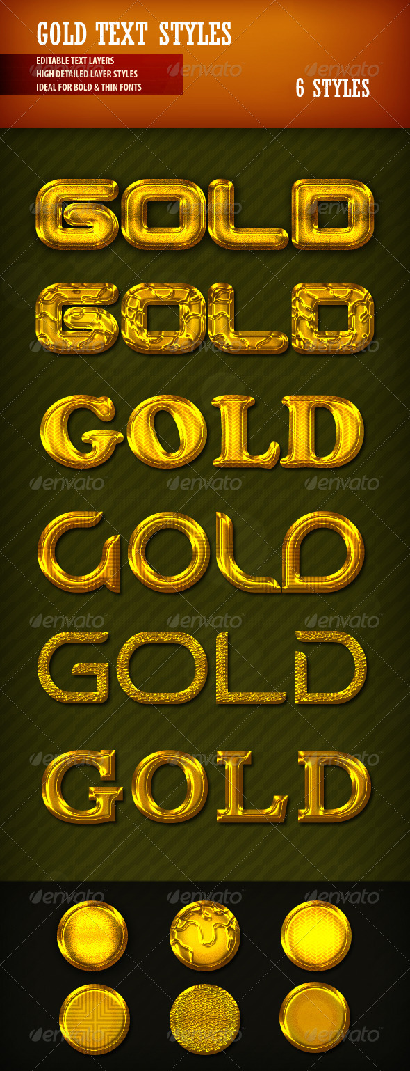 Gold Text Styles - Styles Photoshop