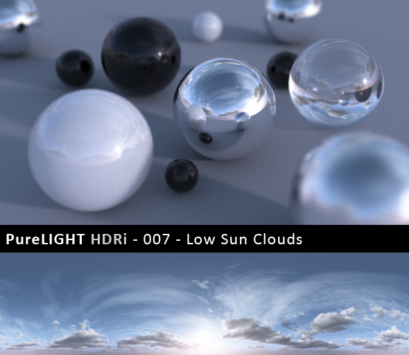 PureLIGHT HDRi 007 - Low Sun Clouds - 3DOcean Item for Sale