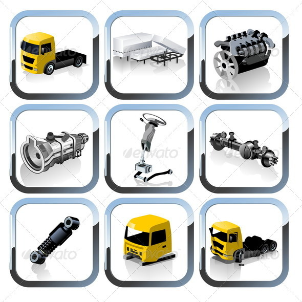 Truck Spares Icons Set - Web Elements Vectors