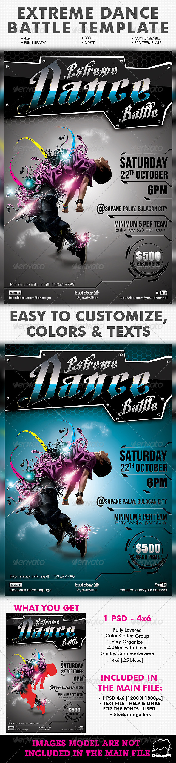 GraphicRiver Extreme Dance Battle Template 2471912