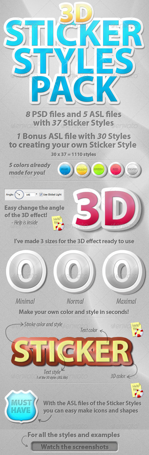 GraphicRiver 3D Sticker Styles Pack 281270