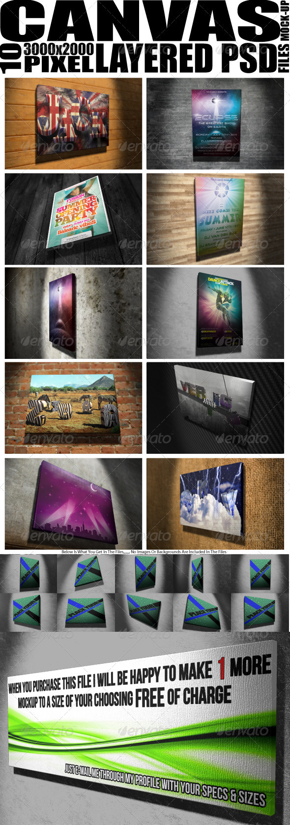 Graphic River Mock Up Canvas X 10 Graphics -  Product Mock-Ups 1395498