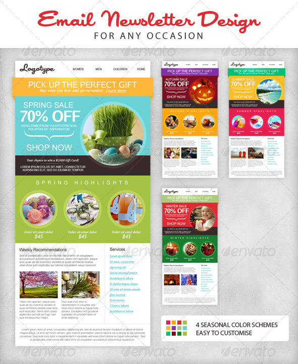 Seasonal Email Newsletter Template - Newsletters Print Templates