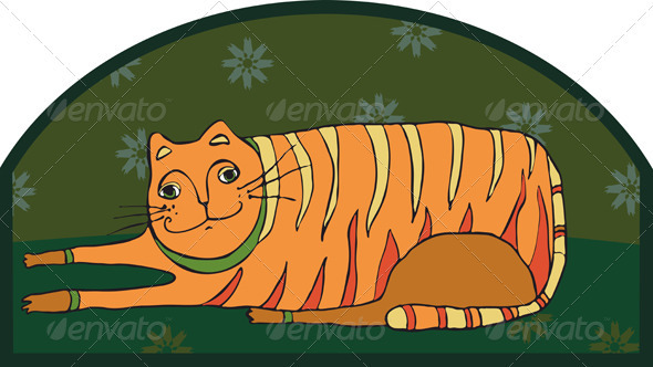 Big Striped Cat - Animals Characters