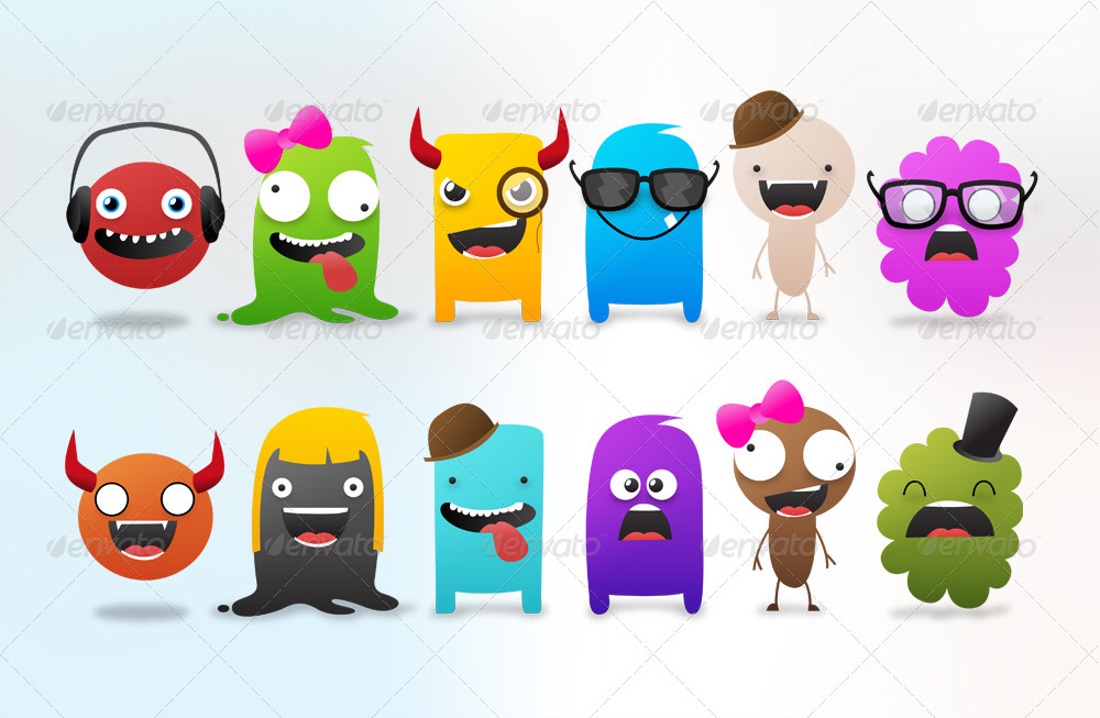 Cartoon Character Design Psd : Character monster creation kit create us by rzdesign