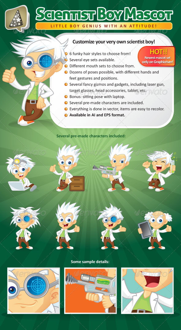 GraphicRiver Scientist Boy Mascot Creation Kit 2514038