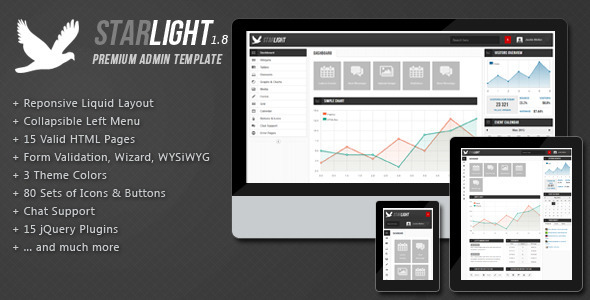 Starlight Reponsive Admin Template - Admin Templates Site Templates