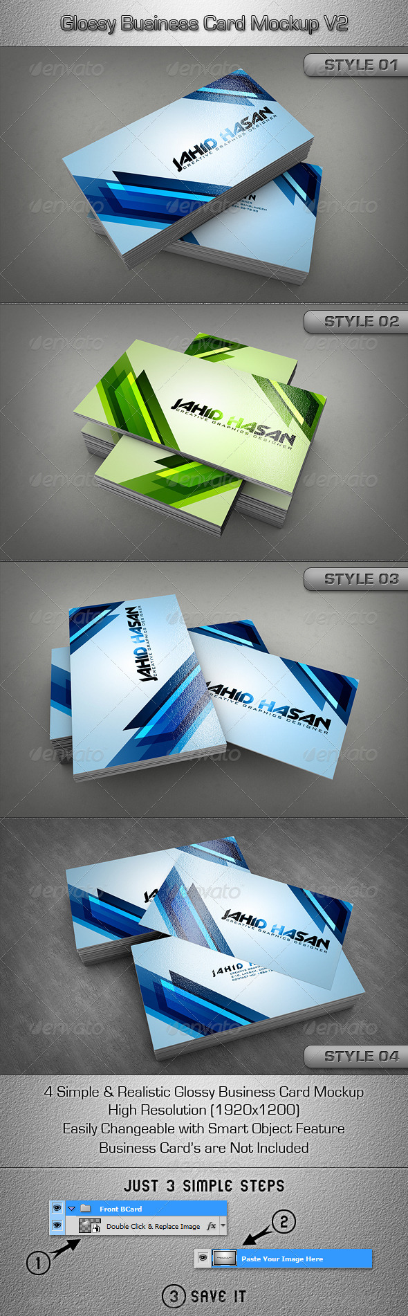 Glossy Business Card MockUp V2 - Business Cards Print