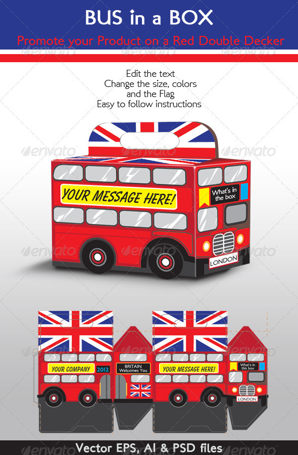 Bus in a Box; Red Double Decker London Bus - Packaging Print Templates