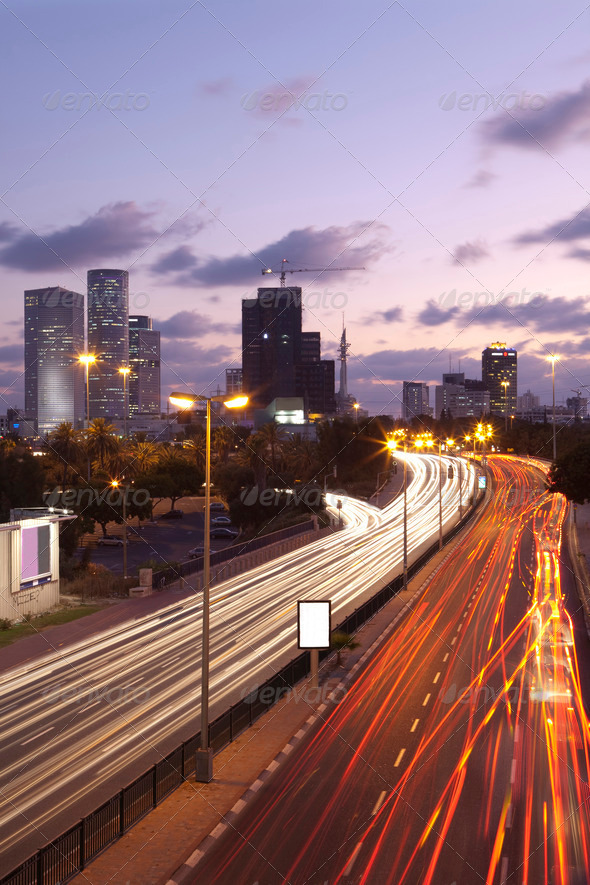 Tel Aviv at sunset - Stock Photo - Images