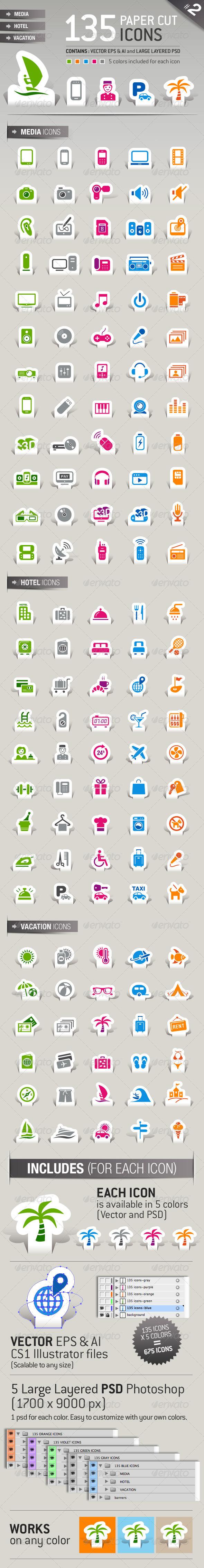 GraphicRiver 135 Papercut Icons 2516781