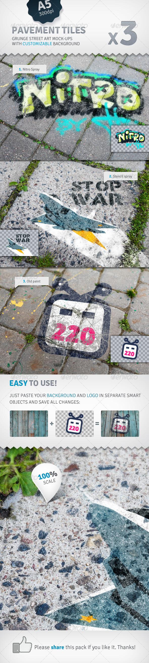 GraphicRiver Pavement Tiles 3 Graffiti Street Art Mockups 2517210
