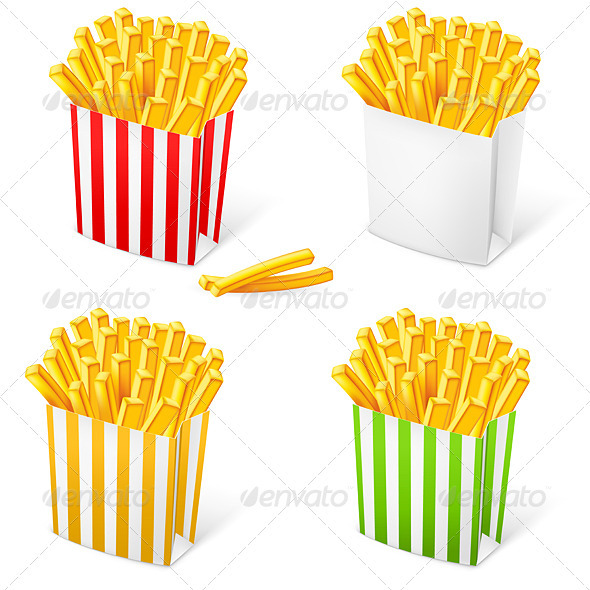 GraphicRiver French fries in a multi-colored striped packaging 2518855