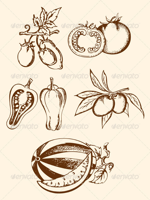 Set of Vintage Vegetable Icons - Food Objects