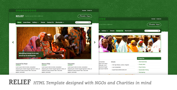 ThemeForest Relief Charity Responsive HTML Template 2475627