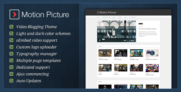 ThemeForest Motion Picture WordPress Video Blogging Theme 222214