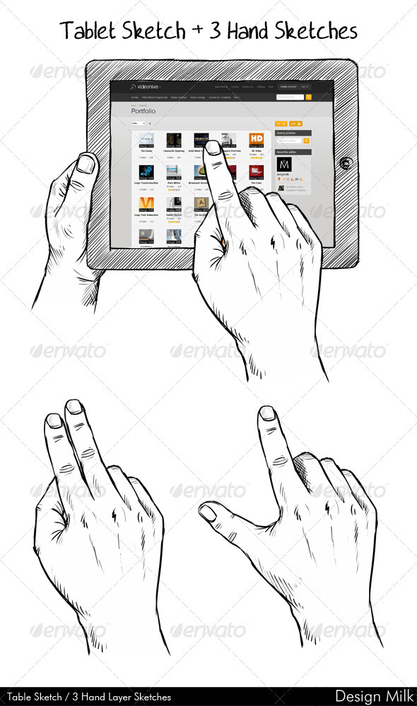 GraphicRiver Tablet Hands Sketch 2519698