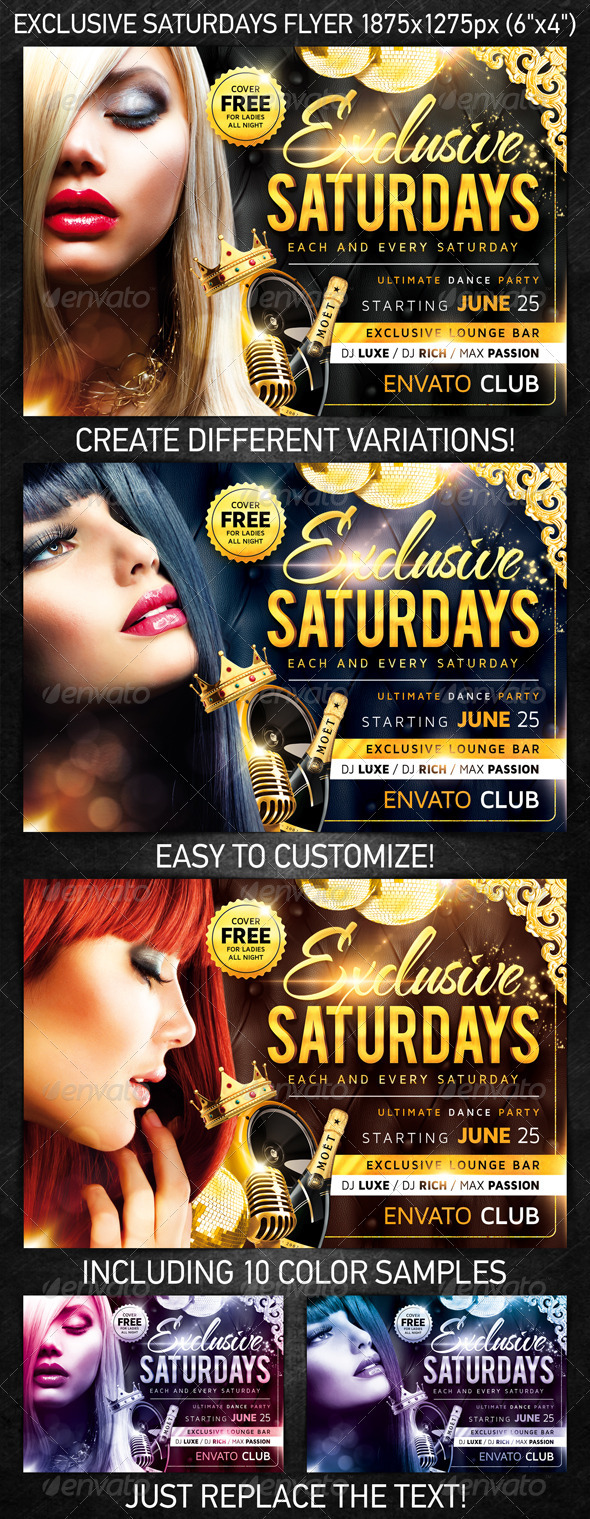 Exclusive Saturdays Flyer - Clubs & Parties Events
