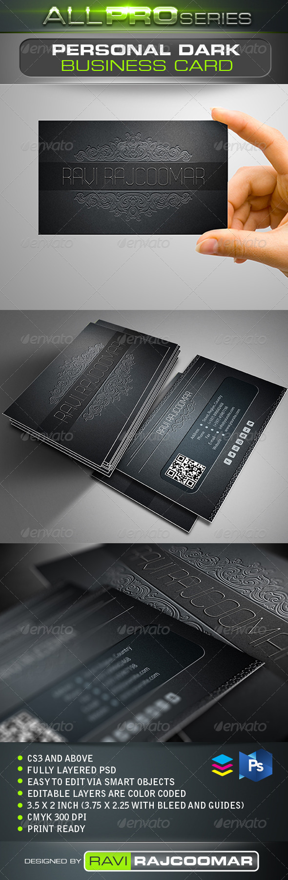 Personal Dark Business Card - Business Cards Print Templates