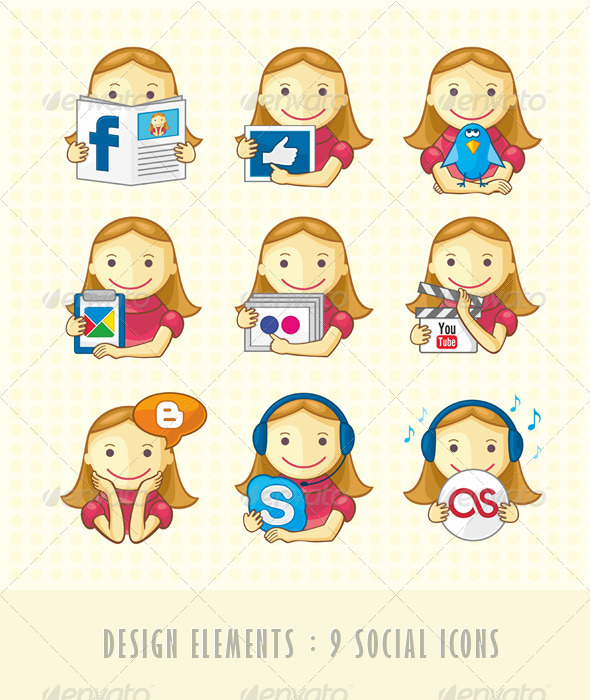 Design Elements - Set Of Social Icons - People Characters