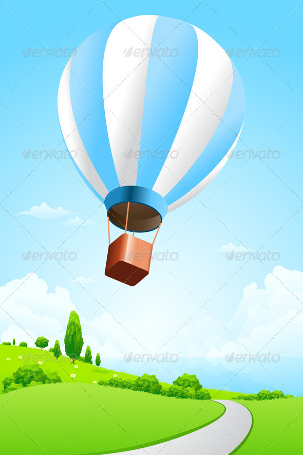 Green Landscape with Hot Air Balloon - Landscapes Nature