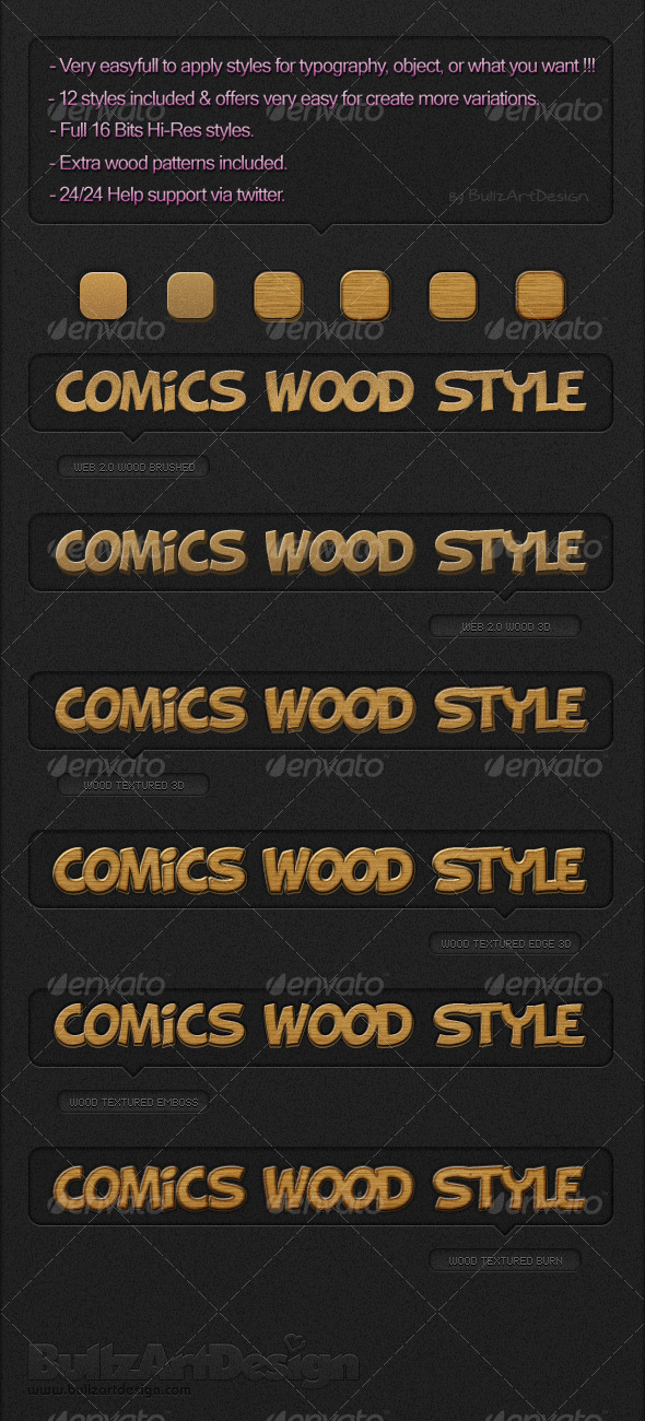 Comics Wood Styles - Text Effects Styles