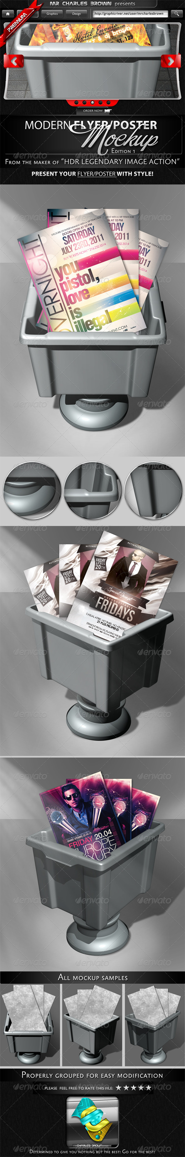 Modern 3D Flyer and Poster Mockup - Flyers Print