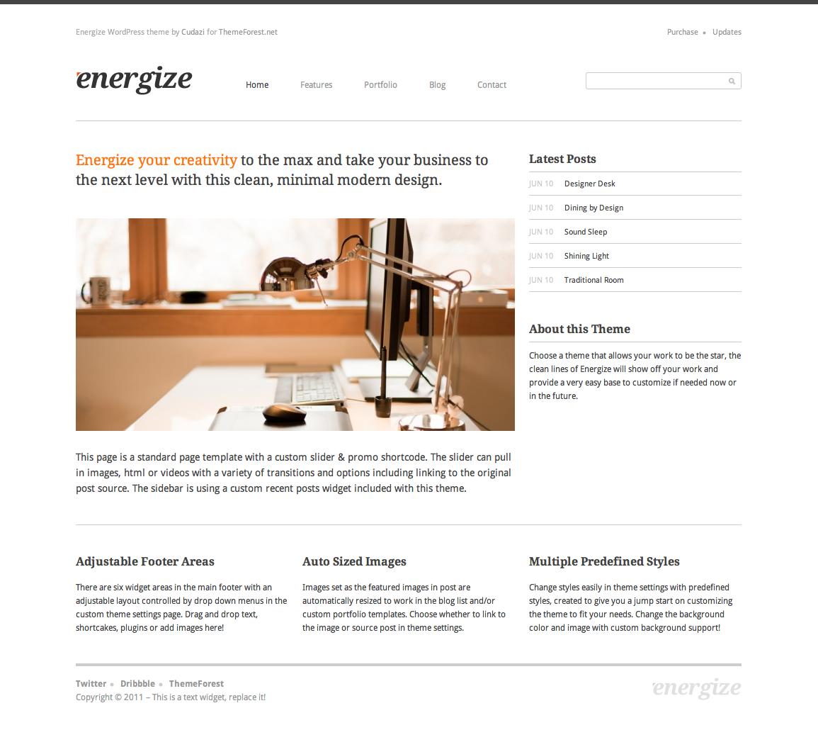 Energize - Clean Creative WordPress Portfolio 1