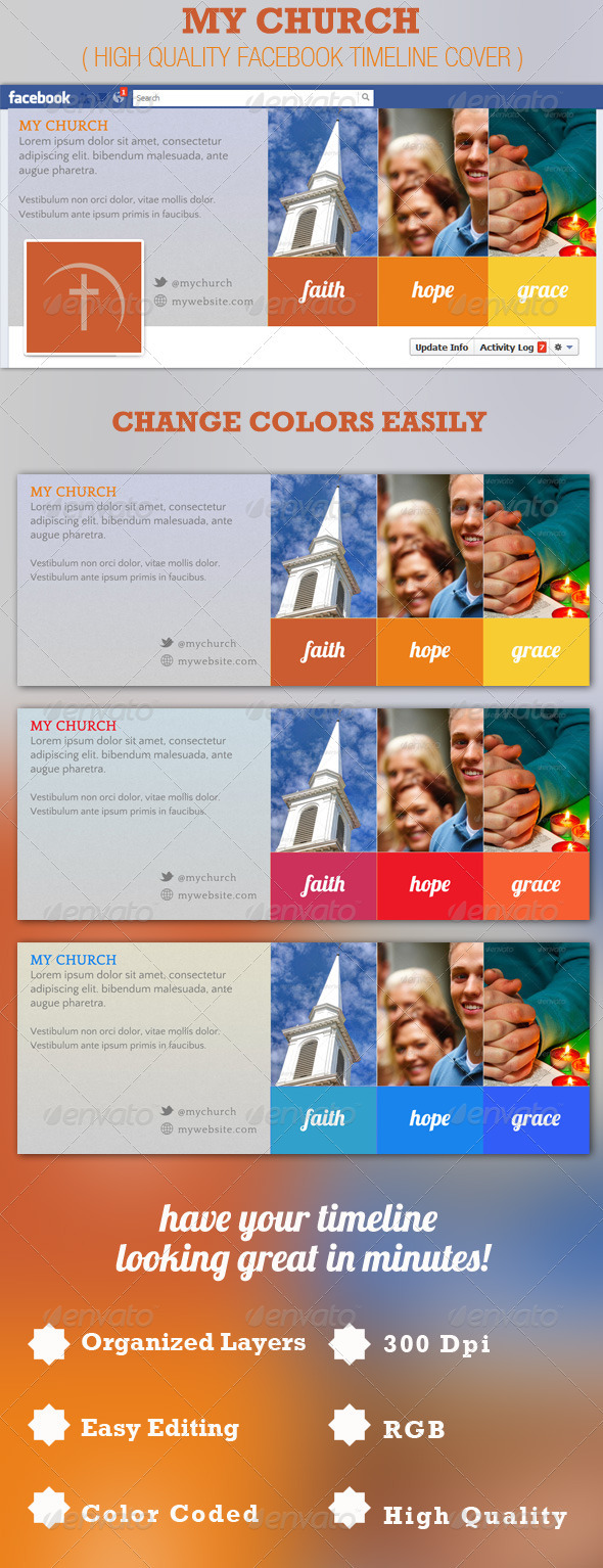 GraphicRiver My Church Facebook Timeline Cover Template 2529636