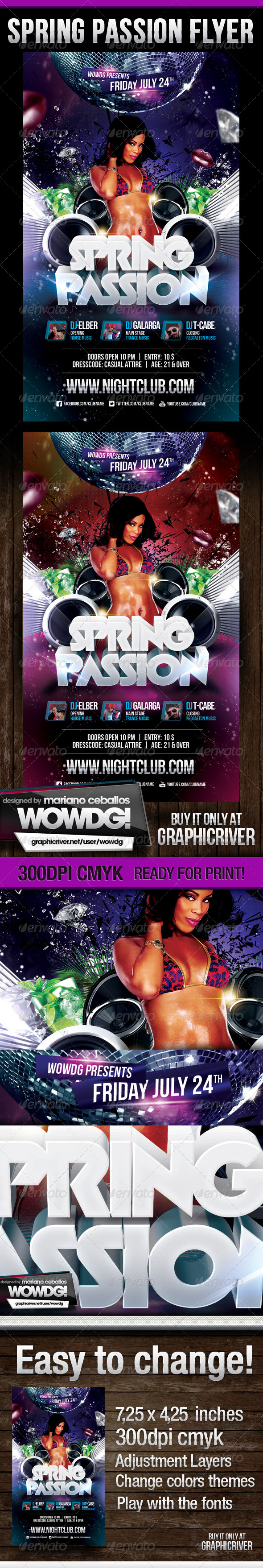 Spring Passion Party Flyer - Flyers Print Templates