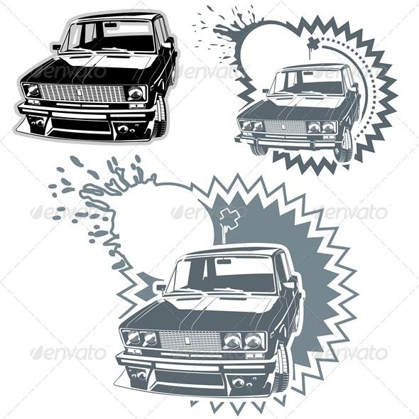 GraphicRiver Vector Custom Car Silhouettes Set 2530580
