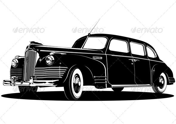 Vector Retro Limousine Silhouette