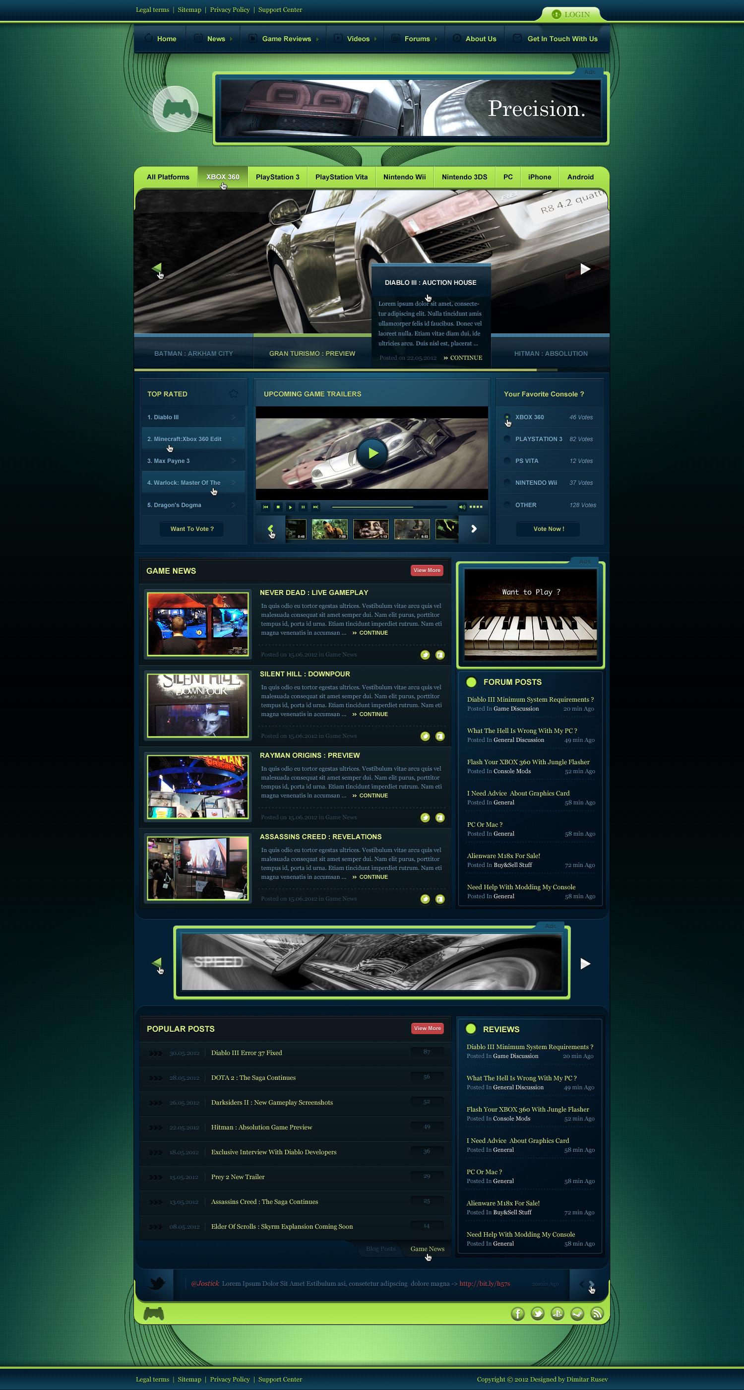 Joystick - Ultimate Gaming PSD Template