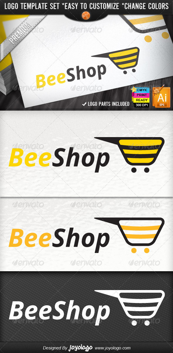 Bee Commerce Online Creative Shopping Logo Designs - Animals Logo Templates