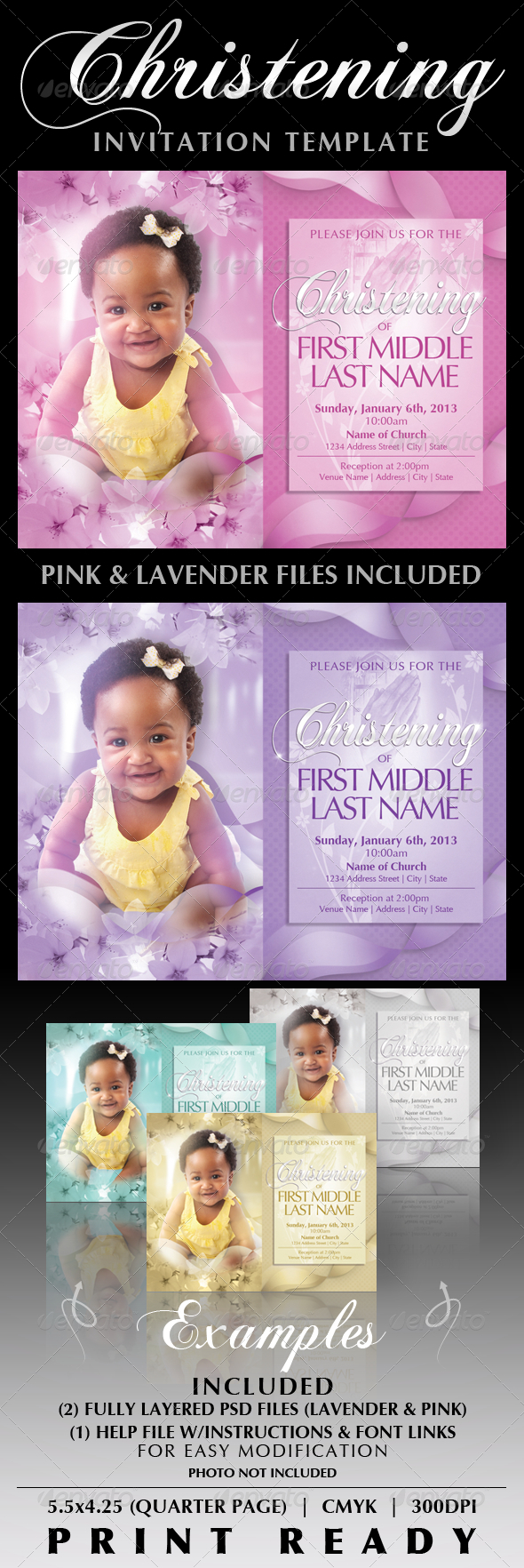 GraphicRiver Baby Christening Invitation Templates 2532515