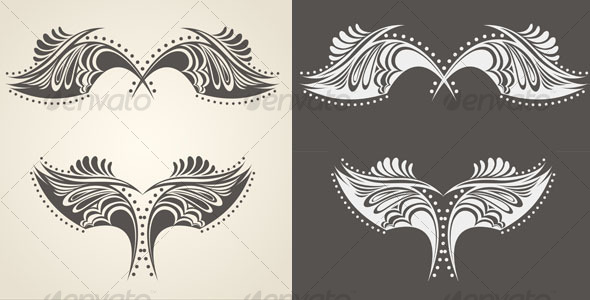 Abstract hand drawn wings