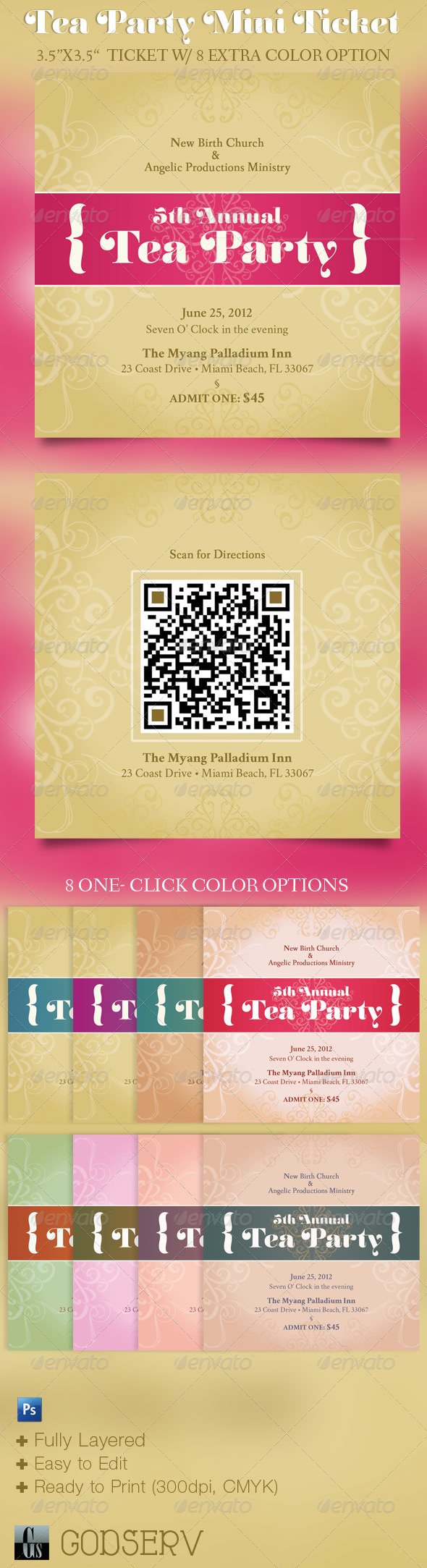 GraphicRiver Tea Party Mini Ticket Template 2532570