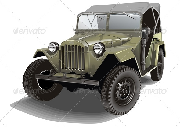 Vector Retro Army Jeep