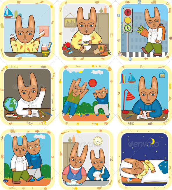 Hare Schedule Day Set - Animals Characters
