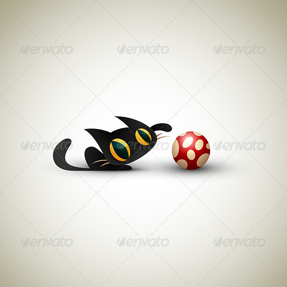 Little Cat playing with Football - Sports/Activity Conceptual