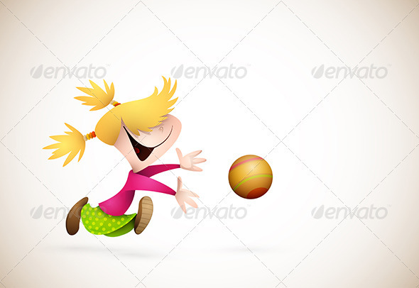 Little Girl PLaying Handball - Sports/Activity Conceptual