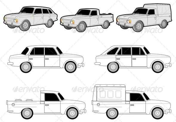 Vector Delivery Car Set