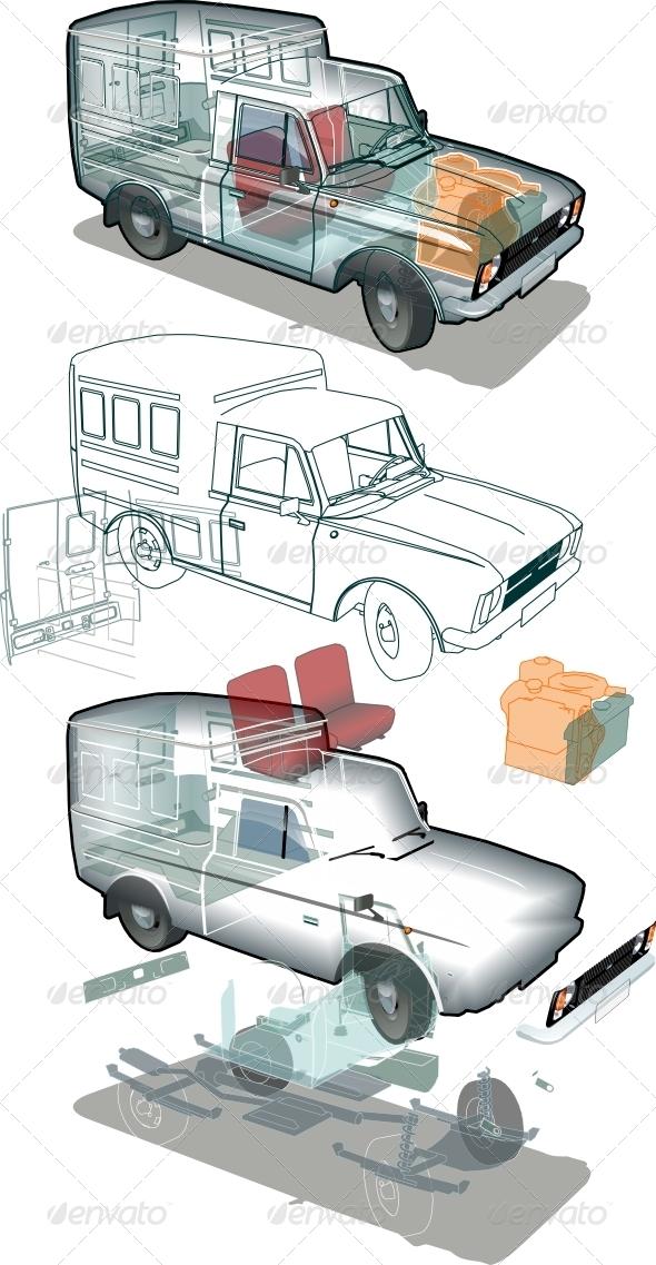 Vector Delivery Car Cutaway
