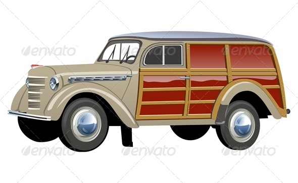 Vector Retro Woody Van