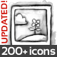 Watercolor Icons for the Web - Black & White - GraphicRiver Item for Sale