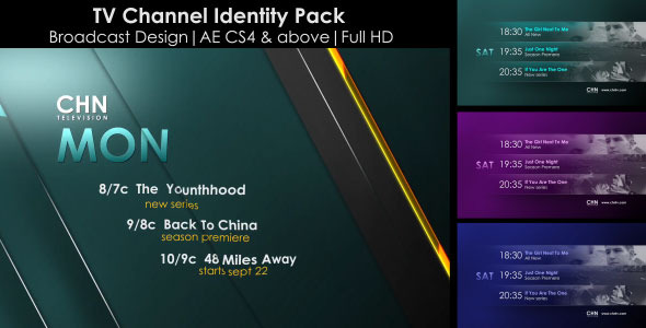 After Effects Project - VideoHive Broadcast Design-TV Channel Identity Pack ...
