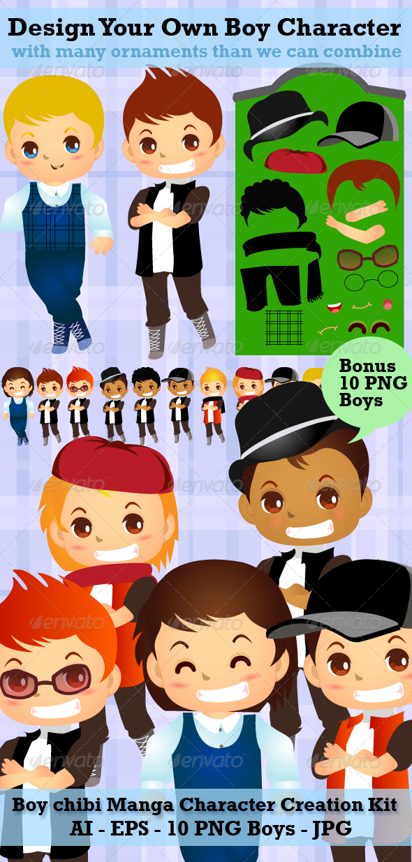 Boy Creation Kit - Modern Boy Cartoon Vector Pack