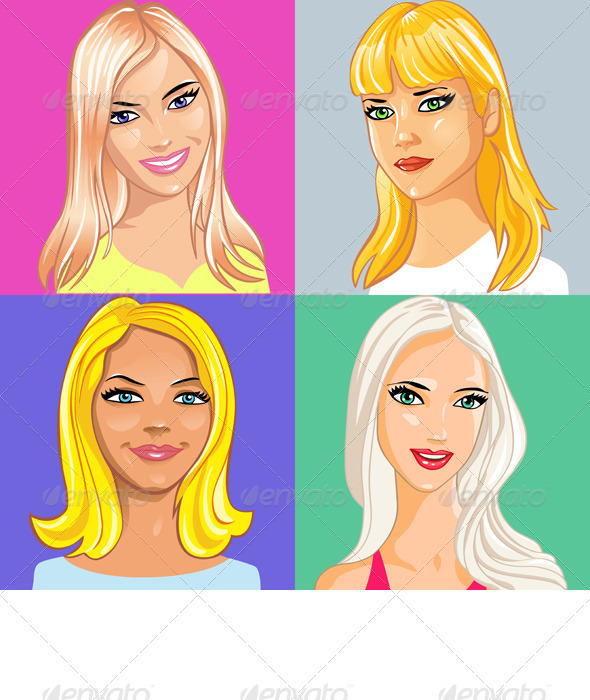 four young beautiful blonde girl smiling - People Characters