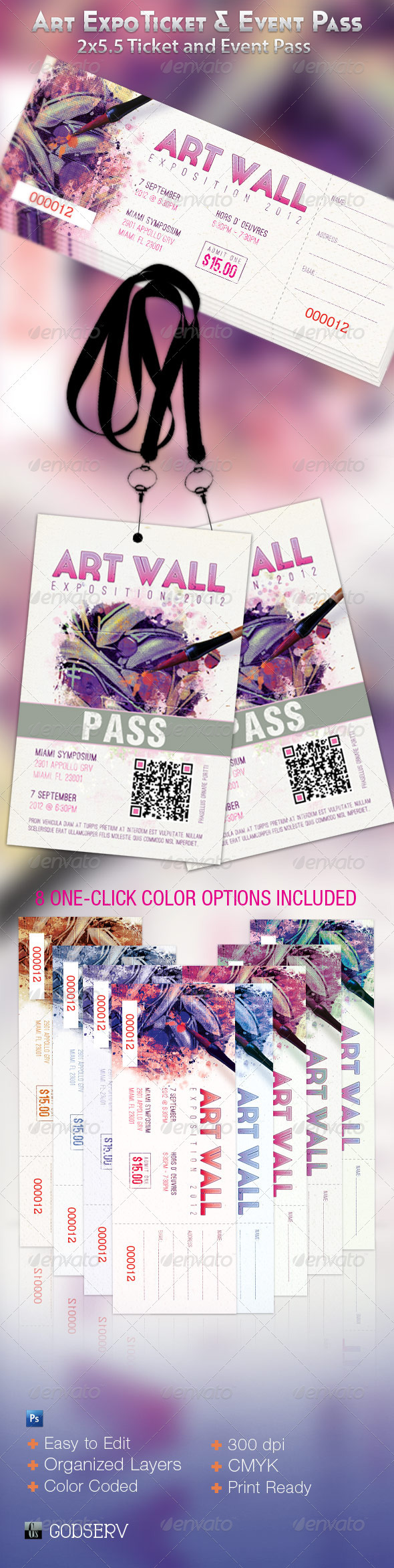 GraphicRiver Art Expo Ticket and Event Pass Template 2529645